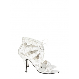 Ankle white leather and lace heel sandals NEW Retail price €640 Size 38
