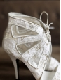 GIVENCHY Sandales à talon en cuir et dentelle blanche Px boutique 640€ Taille 40