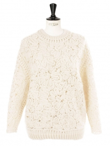 Ivory alpaca and wool crochet-knit sweater Retail price €1245 Size 34
