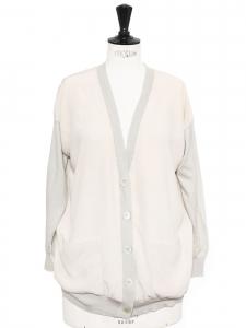 Gilet en soie rose pâle et cachemire gris clair Prix boutique 800€ Taille M