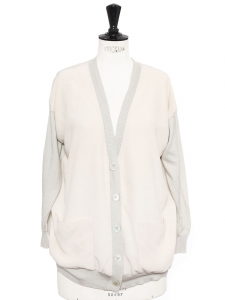 Light grey cashmere and pale pink silk cardigan Retail price €800 Size M