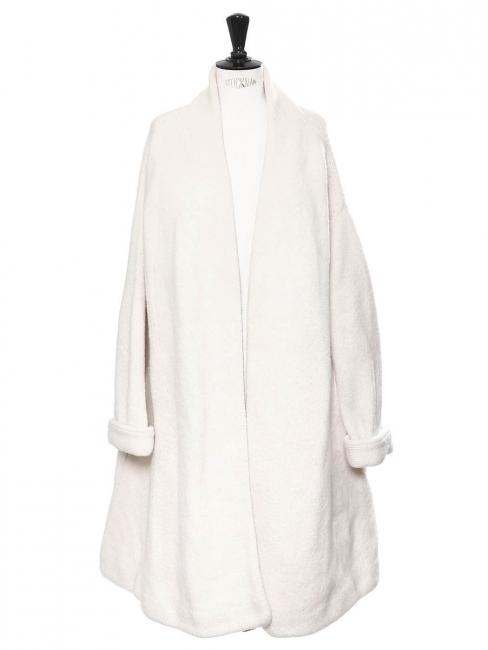 Manteau long en maille épaisse de laine blanc crème Prix boutique 630€ Taille 38 au 40