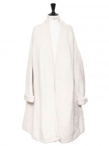 Cream white heavy knit wool coat Retail price €630 Size M to L