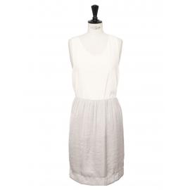 Jupe droite taille élastique en satin gris perle Prix boutique 800€ Taille 38