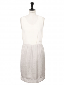 Pearl grey satin straight skirt with elasticated waist Retail price €800 Size 38
