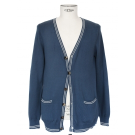 Blue light cotton V neck cardigan with white stripes Retail price €160 Size M
