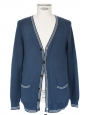 V neck blue light cotton cardigan with white stripes Size M