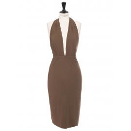 Open back cinched midi cocktail dress in nut brown Retail price €900 Size 36