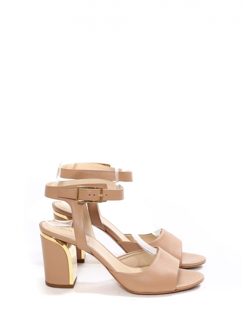 Beige pink leather heel sandals with gold metal trimming Retail price €585 Size 37