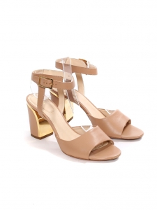 Beige pink leather heel sandals with gold metal trimming Retail price €625 Size 37