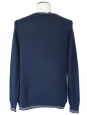Gilet fin en coton bleu et rayures blanches Taille M