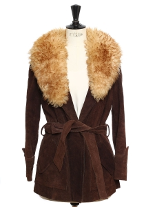 Seventies style chocolate brown suede leather belted jacket with fur collar Size 36