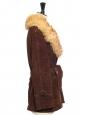 Manteau veste ceinturé style seventies en suède marron chocolat et col fourrure Taille 36