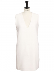 Ivory white wool crepe V neck sleeveless dress Retail price €470 Size L