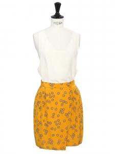 Jupe taille haute en soie jaune miel imprimée fleuri ivoire Taille 34