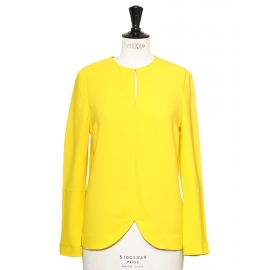 MAY Sunny yellow crepe round neck long sleeves top NEW Retail price €550 Size 36