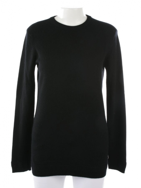Black cashmere wool round neckline sweater Retail price €1050 Size 36