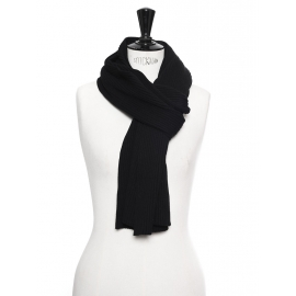 Black wool and cotton knitted scarf Retail price €200