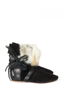 NIA black leather and fur flat boots NEW Retail price €740 Size 37