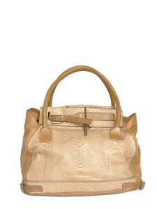 Large MARLOW sand beige python exotic leather satchel bag Retail price €3600