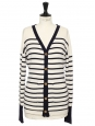Navy blue and ecru white striped cashmere cardigan with gold buttons Retail price €150 Size M