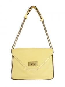 Sac Sally moyen modèle en cuir grainé jaune citron et chaîne dorée NEUF Prix boutique 1710€