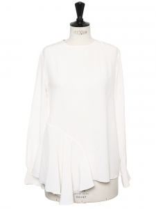 White silk long sleeves round neckline blouse Retail price €550 Size 36/38