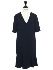 ELY Midnight blue crepe short sleeves v neck dress Retail price €600 Size 36
