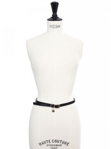 Black faux leather thin belt with silver buckle Retail price €140 Size XS
