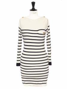 Ecru with navy stripes sailor knitted cashmere sweater dress Retail price €900 Size 36