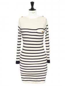 Robe pull marinière en cachemire écru rayé bleu marine Px boutique 900€ Taille 38