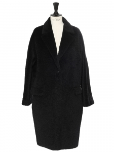 MAX MARA Black alpaca and virgin wool maxi coat Retail price €1059 Size 38