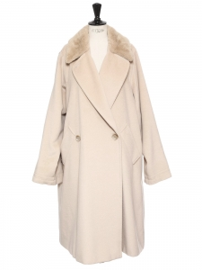 Beige wool maxi coat with faux fur collar Retail price €1800 Size 42