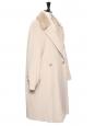 Manteau long en laine beige col fourrure Prix boutique 1800€ Taille 42
