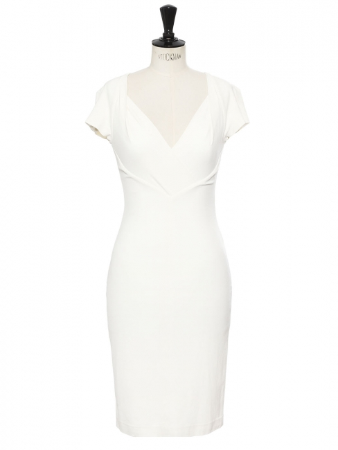 Cinched sweetheart neckline midi dress in white stretch crepe Retail price €470 Size 34/36
