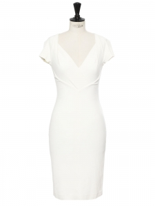 Robe midi cintrée décolletée coeur en crêpe blanc ivoire Prix boutique 470€ Taille 34/36
