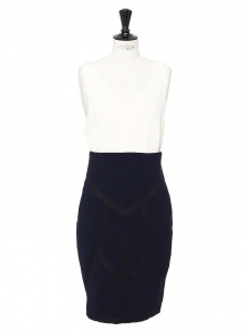 EDWARD MEADHAM x BENJAMIN KIRCHHOFF high waist blue crepe midi length pencil skirt Size 36