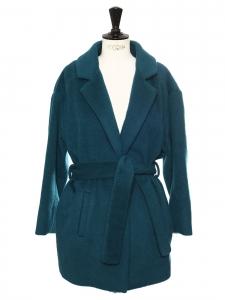 Manteau court ceinturée en laine et mohair bleu canard Taille 38