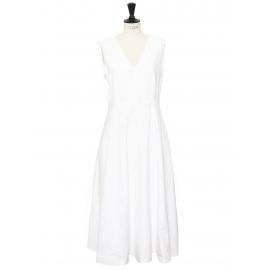 White cotton V neck sleeveless maxi dress Size 42