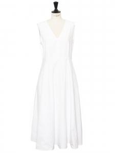Robe longues sans manche col v et cintrée en coton blanc Taille 42