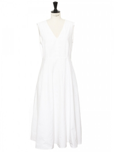 MAX MARA White cotton V neck sleeveless maxi dress Size 42