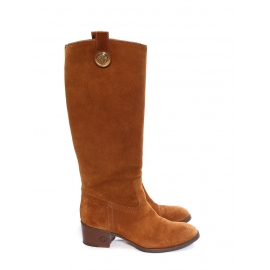 Low heel tan brown suede knee high boots Retail price €850 Size 36