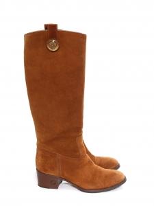 GUCCI Bottes à petits talons bout amande en daim marron camel Prix boutique 850€ Taille 36
