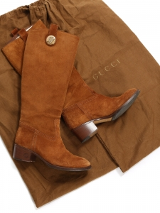 GUCCI Low heel tan brown suede knee high boots Retail price €850 Size 36