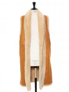 Manteau veste FACILE sans manche en peau lainée (mouton) beige et daim camel Prix boutique 1400€ Taille 38