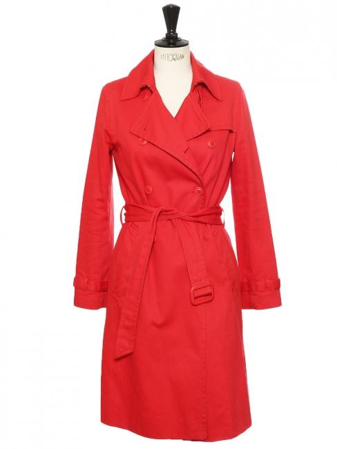 Manteau trench MAHLA en sergé de coton rouge Px boutique 200€ Taille 36