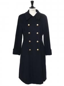 Manteau long en cachemire bleu marine et boutons dorés Prix boutique 1500€ Taille 38
