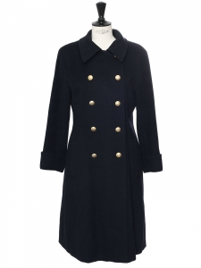 Midnight blue cashmere wool maxi coat with gold buttons Retail price €1500 Size 38