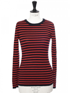 Black and red striped merinos wool Breton sweater Retail price €135 Size 36