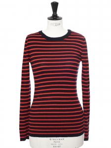 Pull fin marinière en laine mérinos rayé noir et rouge Prix boutique 135€ Taille 36